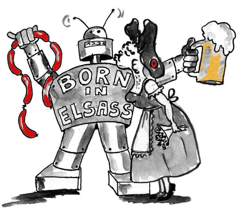 "Illustration robot ""Born in Elsass"" avec Alsacie"