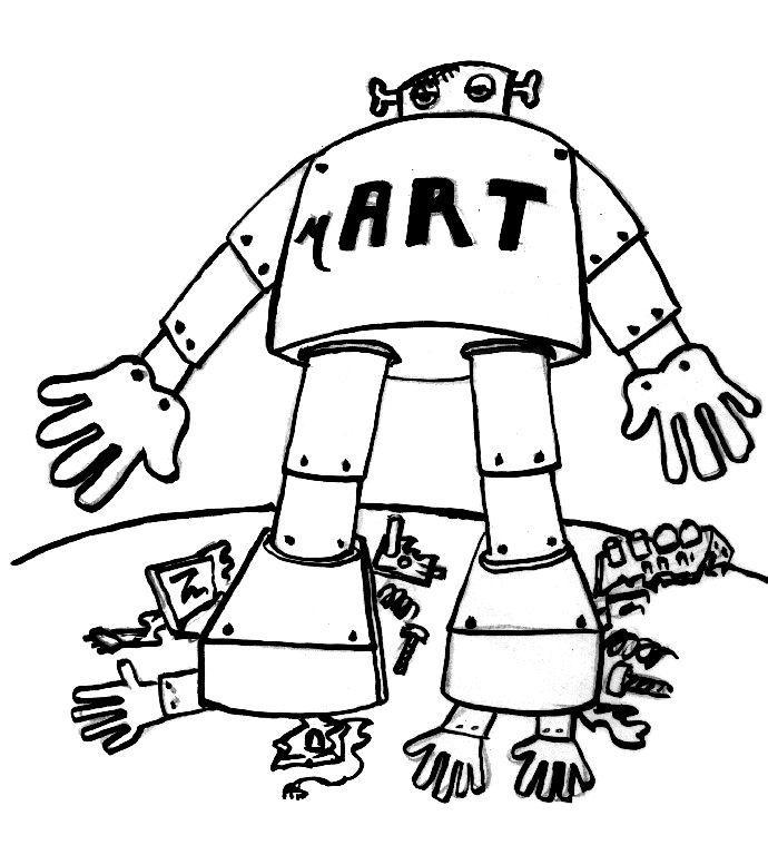 Illustration robot écrasant