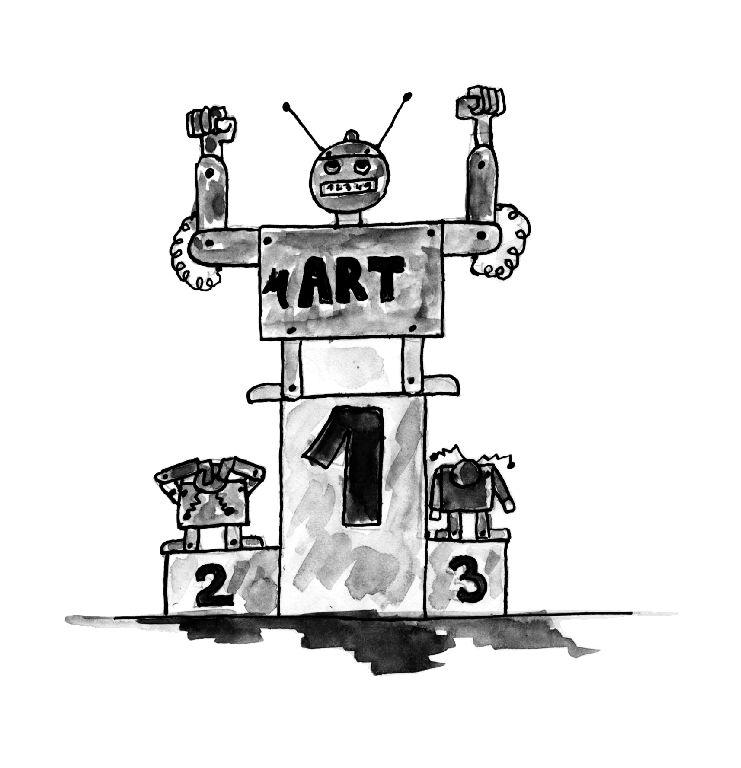 Illustration robot sur podium