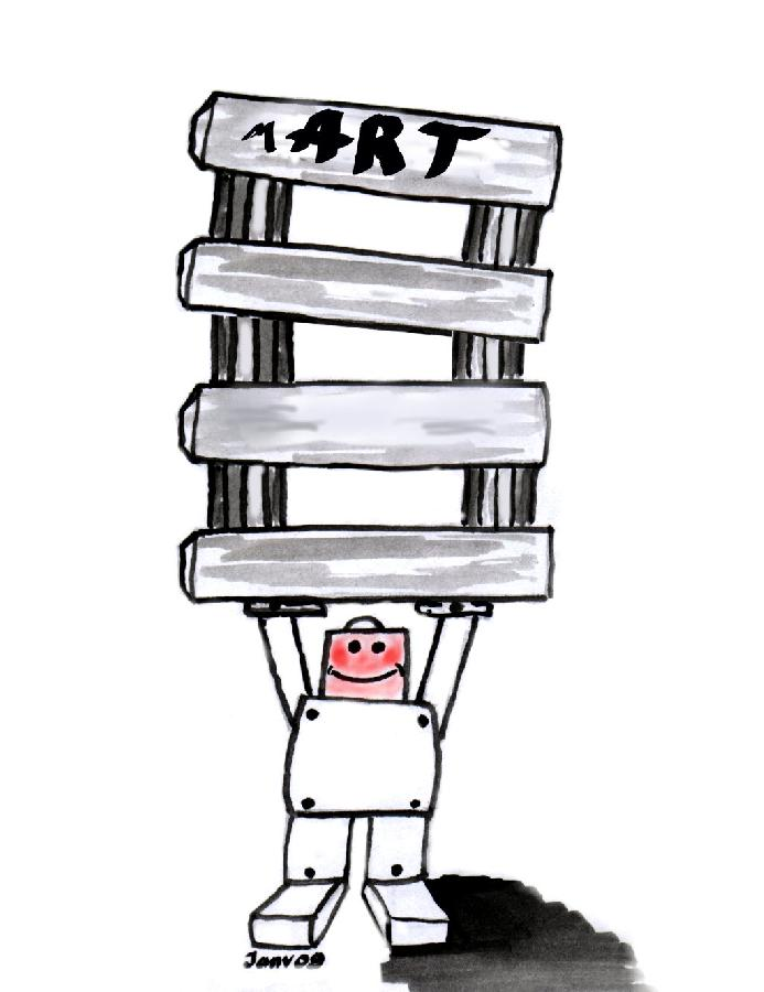 Illustration robot lève temples