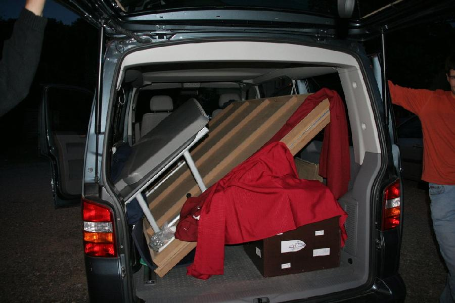 Le Van apres une demie heure de galère pour rentrer le terrain
